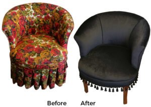reupholstered armchair